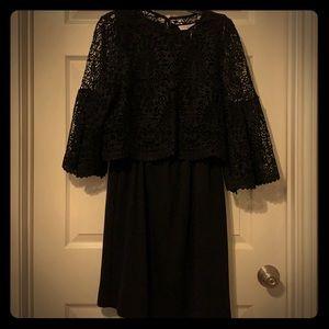 KHalperin black lace overlay trumpet sleeve dress